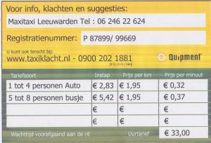 <strong>Tariefkaart </strong>Taxi Leeuwarden